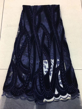 2018 New Fashion Embroidery African Velvet Lace Fabric With Laser Cutting For Dress,Newest French Velvet Lace (5yds/lot) ADV2-1