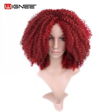 Wignee Pure Color Red/613# Short Afro Kinky Curly Women Wigs None Lace Heat Resistant Synthetic Hair Wigs For Africa Americans