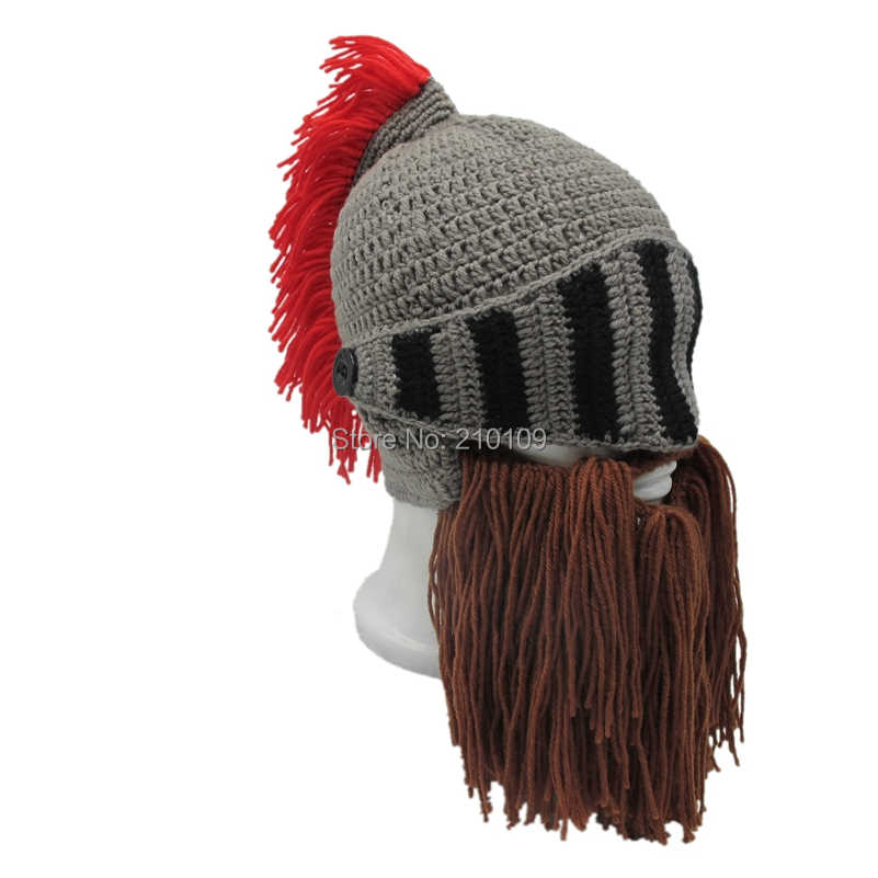 9ec61dcc52c ... Mr.Kooky Red Tassel Cosplay Roman Knight Knit Helmet Men s Caps  Original Barbarian Handmade Winter ...