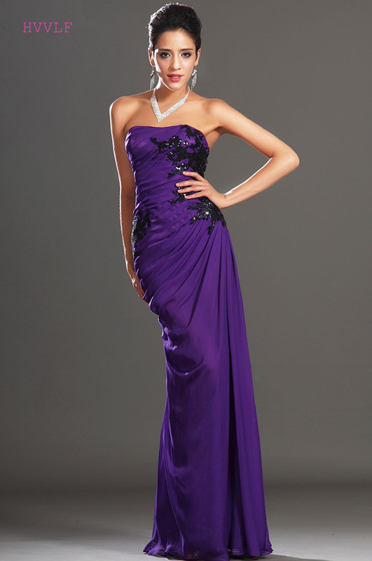 Purple Evening Dresses 2018 Sheath Strapless Chiffon Appliques ...