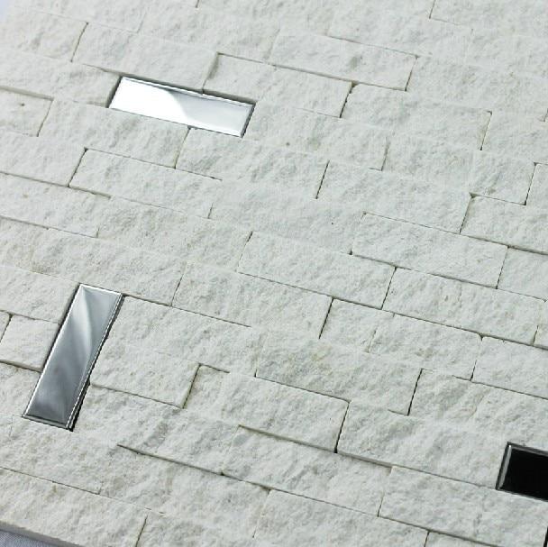 Kitchen Backsplash White Tile: White Marble Mosaic Tile 3D Kitchen Backsplash Stainless