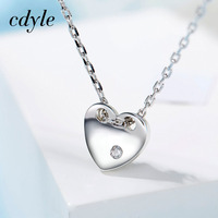 Cdyle قلادة المرأة قلادة 925 فضة الأزياء والمجوهرات شكل قلب قلادة سيدة حزب ارتداء هدية عيد