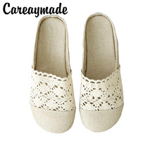 Careaymade-Literary and Art Retro-hollow Flat-soled Shoes 2019 Summer New Cotton Hemp Comfortable Soft-soled Slippers