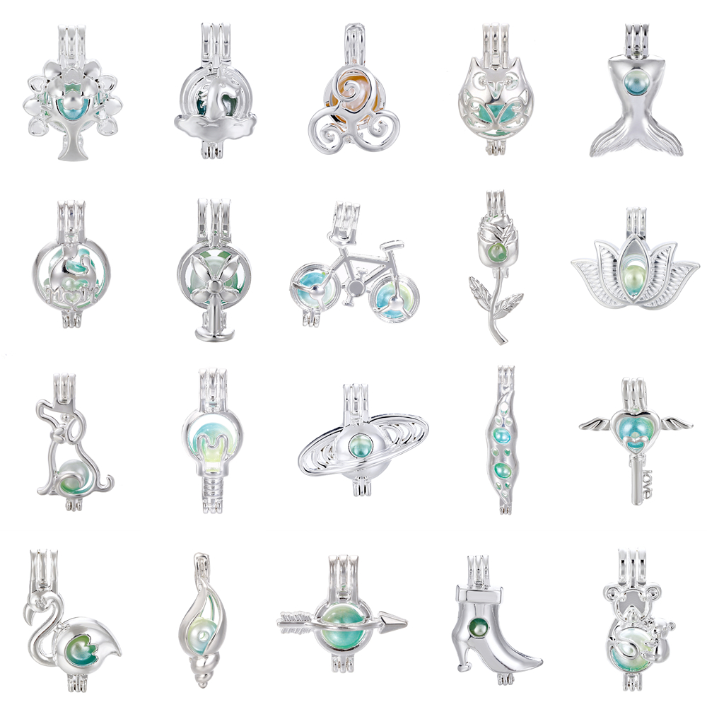 1pcs Silver Tree of Life Lotus Rose Dog Conch Oyster Pearl Cage Jewelry Making Beads Cage Pendant Essential Oil Diffuser Locket jewelry making