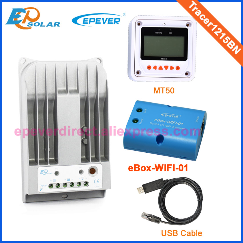 mppt EPEVER solar regulator controller wifi BOX 12v 24v auto work Tracer1215BN 10A with MT50 and USB 12v 24v auto work tracer1215bn for 12v 130w solar panel home system use 10a 10amp with wifi function usb cable and mt50