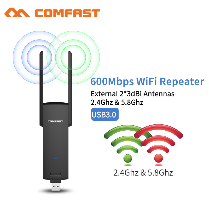 Dual Band 600Mbps Mi USB 3.0 WiFi Amplifier Wireless Router Expander 2*3dbi Antenna Wi-Fi Booster Network Signal Amplifier mi