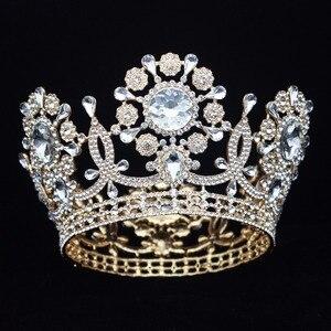 Image 5 - Büyük kristal düğün gelin tacı taç gelin başlığı kadınlar kraliçe balo Diadem saç süsler kafa takı aksesuarları