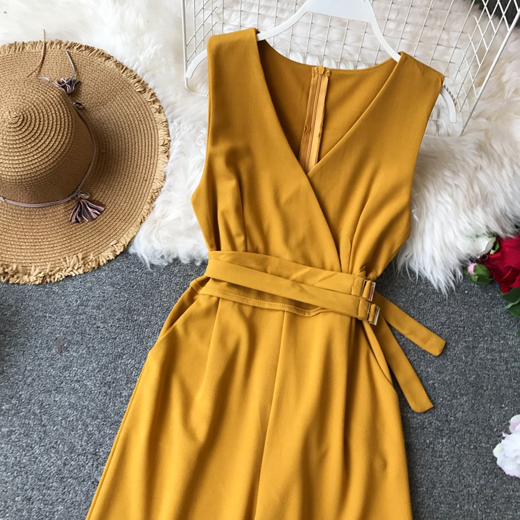 ALPHALMODA 2019 Spring Ladies Sleeveless Solid Jumpsuits V-neck High Waist Sashes Women Casual Wide Leg Rompers 59