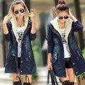 Женщины Джинсовые Куртки Среднего Длинный Кардиган Весна Осень Пальто Женщин Тонкий Вскользь Пальто