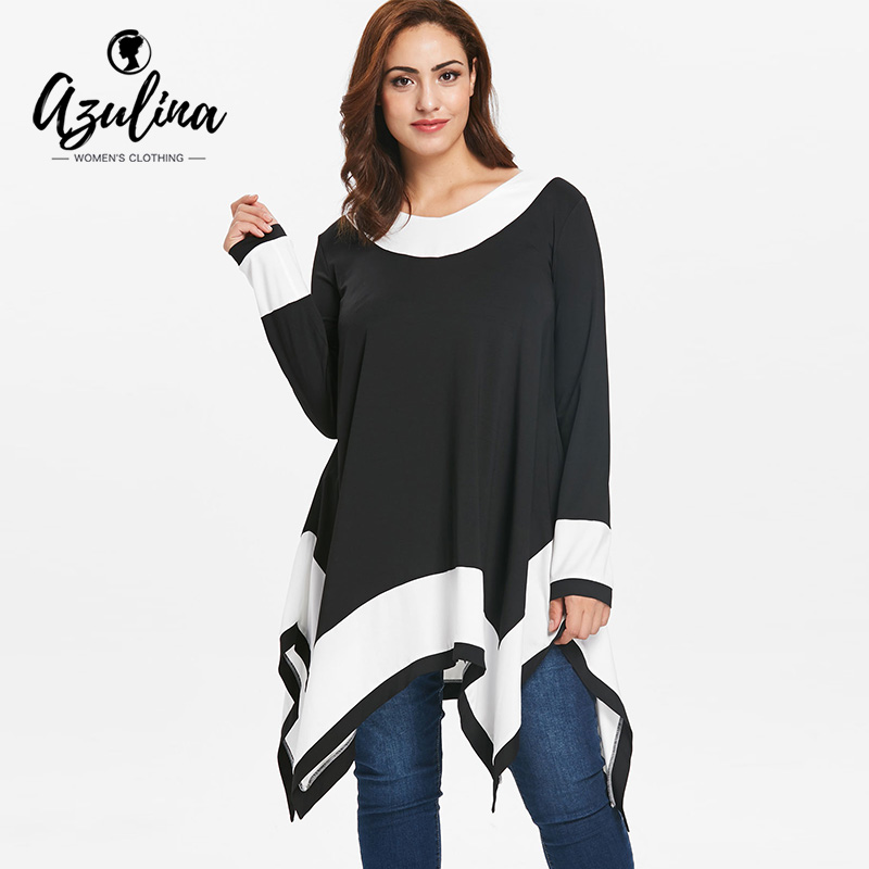 8be59f7f AZULINA Plus Size Contrast Long Sleeve Handkerchief T-Shirt Female Autumn T  Shirt Ladies Tops