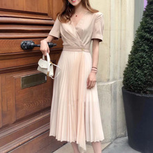Spring and Summer 2019 New OL Style Suit Collar Pleated Dress Two Colors Black Women