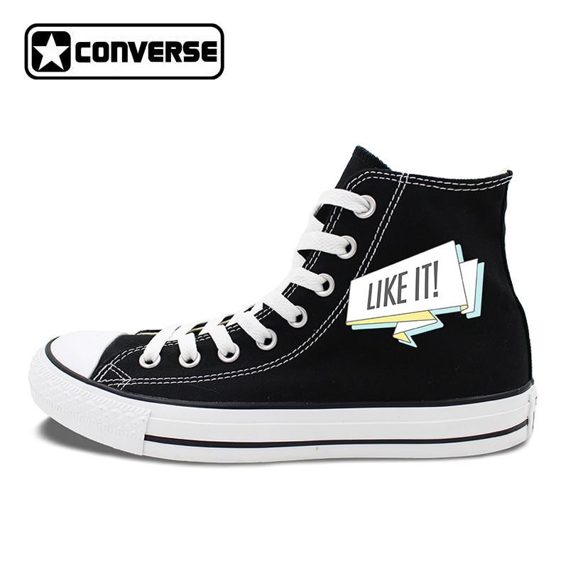 Black Chuck Sneakers Original Design FOLLOW ME LIKE IT Slogan Men Womens Canvas Shoes High Top Converse Classic