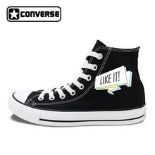 Black Chuck Sneakers Original Design FOLLOW ME LIKE IT Slogan Men Women's Canvas Shoes High Top Converse Classic