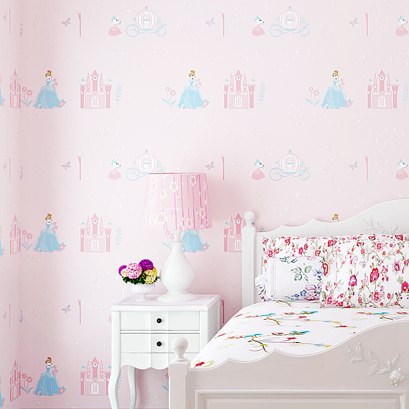 Blue Pink Princess Room Non-woven Wallpaper 3d Bedroom Wallpaper Girl Cute Cartoon Background Wall Papaer for Kids Room 2016 new 3d modern small squares non woven wallpaper background of sitting room put with bedroom wall