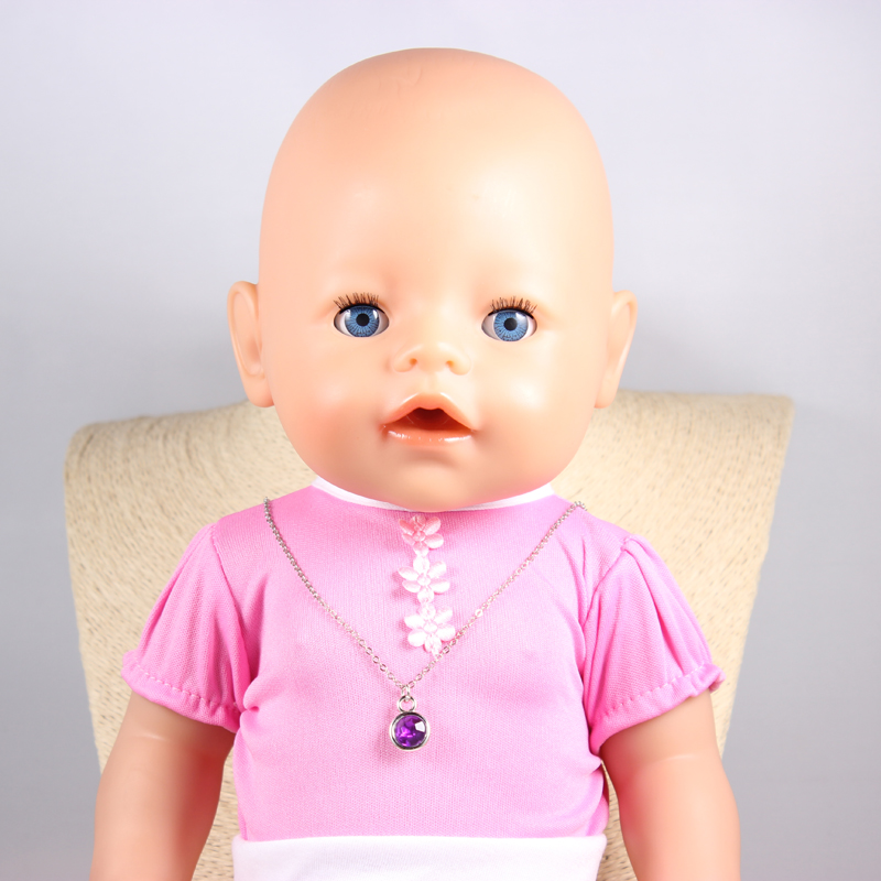 Doll Accessories Purple Round Crystal Charm Necklaces Pendant Fit 43cm Doll Baby Born zapf Children best