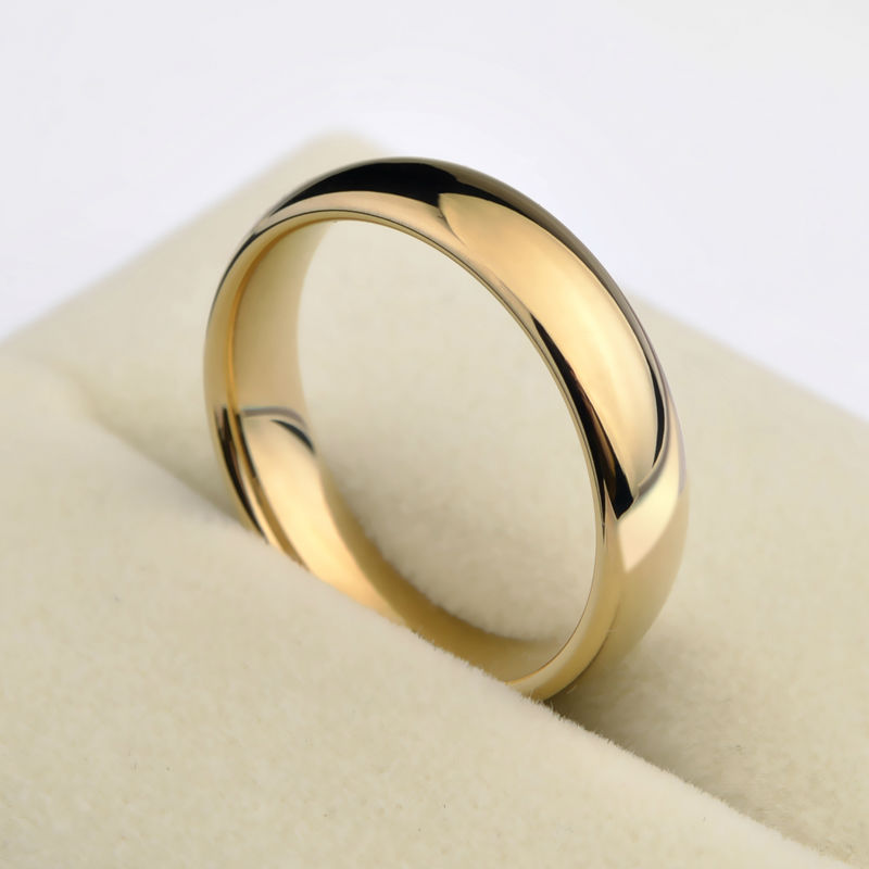 New Fashion Saya Brand 1PCS Gold Plating Couples Tungsten Wedding Rings Dome Band 5mm for Man 3.5mm for Woman Free Shipping