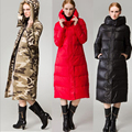 Ucrânia 2016 Inverno de Moda de alta Qualidade Mulheres Jaqueta de Pato Para Baixo Parkas luxo Ultra Longo Grosso Zipper Quente Vermelho/Preto Para Baixo Casaco