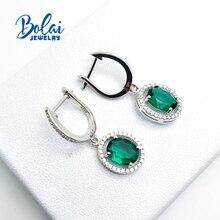 Bolai nano emerald halo dangle earrings 925 sterling silver green gemstone fine jewelry ear drop earrings for women wedding gift все цены