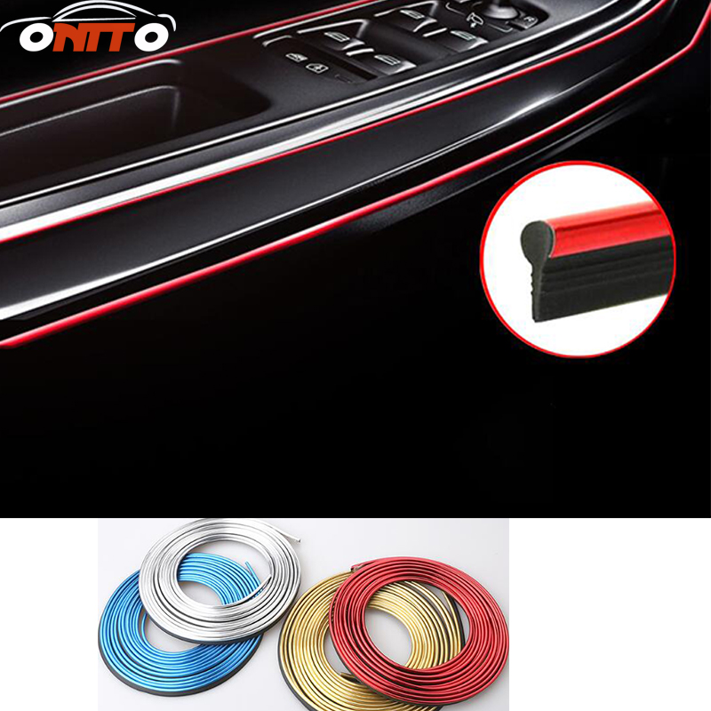 5M Interior Decorative Thread Brand Sticker Moulding Trims Strips Car Stickers And Decals Car-Styling Accessories 16 strips motorcycle accessories 7 colors car styling decals 17 or 18 inch car stickers wheel rim sticker reflective tape