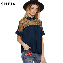 SHEIN Summer Embroidery Blouse Womens Navy Short Sleeve Bow Back Blouse Embroidered Sheer Mesh Insert Tie Back Top