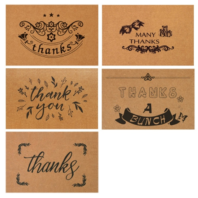 10 PCS Retro Kraft Paper Thanks Card Birthday Small Card Printing
