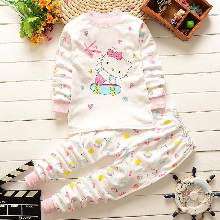 Рисунок «Hello Kitty», для маленьких девочек одежда, комплект одежды для маленьких мальчиков, детские пижамы комплект, новорожденных, малышей Одежда для девочек комплект 2 предмета Комплект 3 м-24 м