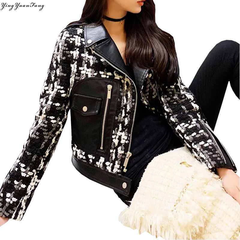 YingYuanFang Thicken heavy work woven tweed stitching PU   leather   short coat