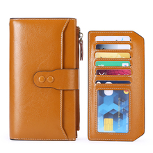 RFID female wallet 2019 new European and American retro leather wallet multi-function large capacity clutch
