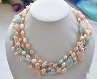 3537 5row pink BAROQUE pearl pink crystal Amazon stone necklace