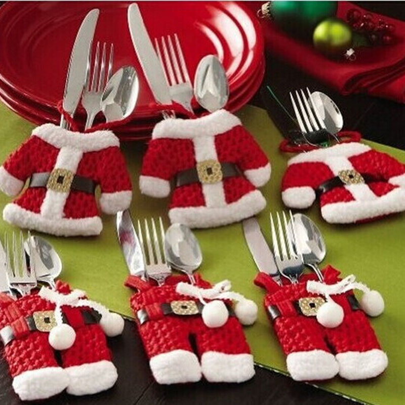 Fancy Christmas Decorations For Home Silverware Holders Pockets