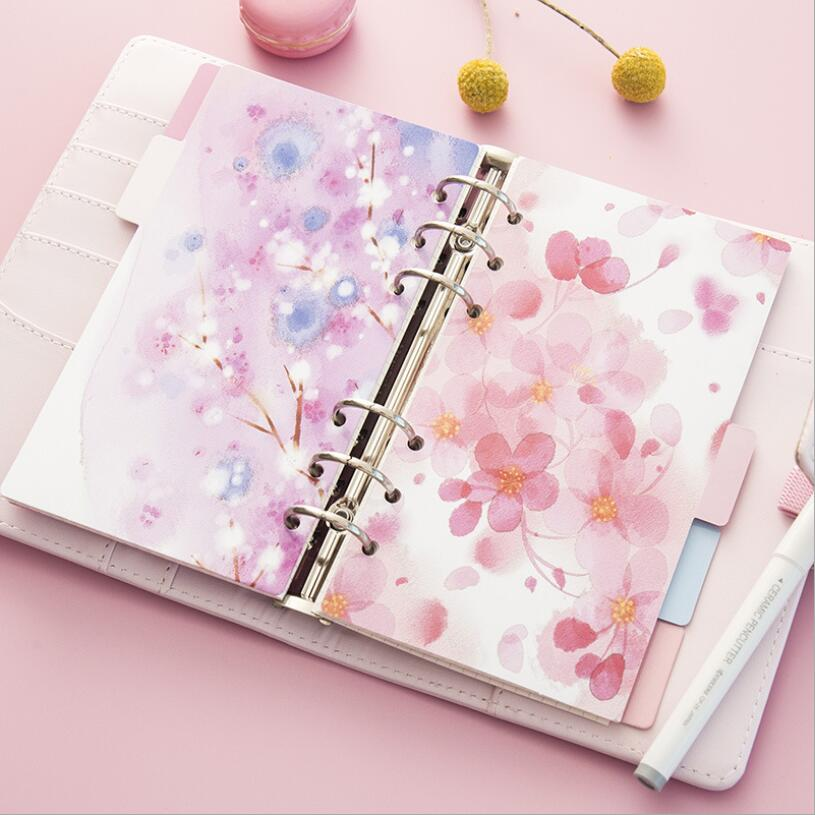 JUKUAI 5 Pcs/Lot Cherry Blossom Diary Notebook Accessories A5/A6 Spiral Dividers Planner Filler Paper Matching Dokibook Filofax