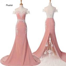 Meerjungfrau Brautjungfer Kleider Lange 2019 Rosa Spitze Appliques Weg Von der Schulter Formale Kleider Vestido De Festa Maid Of Honor Kleid