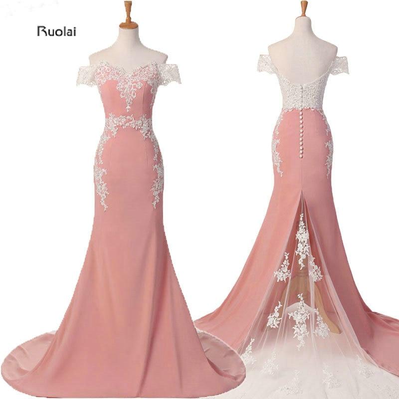 Mermaid Bridesmaid Dresses Long 2019 Pink Lace Appliques Off ուսի պաշտոնական զգեստներ Vestido De Festa Maid Of Honor Dress