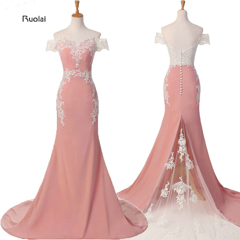 Mermaid   Bridesmaid     Dresses   Long 2019 Pink Lace Appliques Off the Shoulder Formal   Dresses   Vestido De Festa Maid Of Honor   Dress