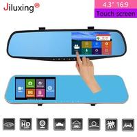 Jiluxing Dash Cam 4.3'' 1080P Car DVR mirror Dual Lens Video Recorder Parking Monitor car Camera Rear view Mirror Auto Registrar