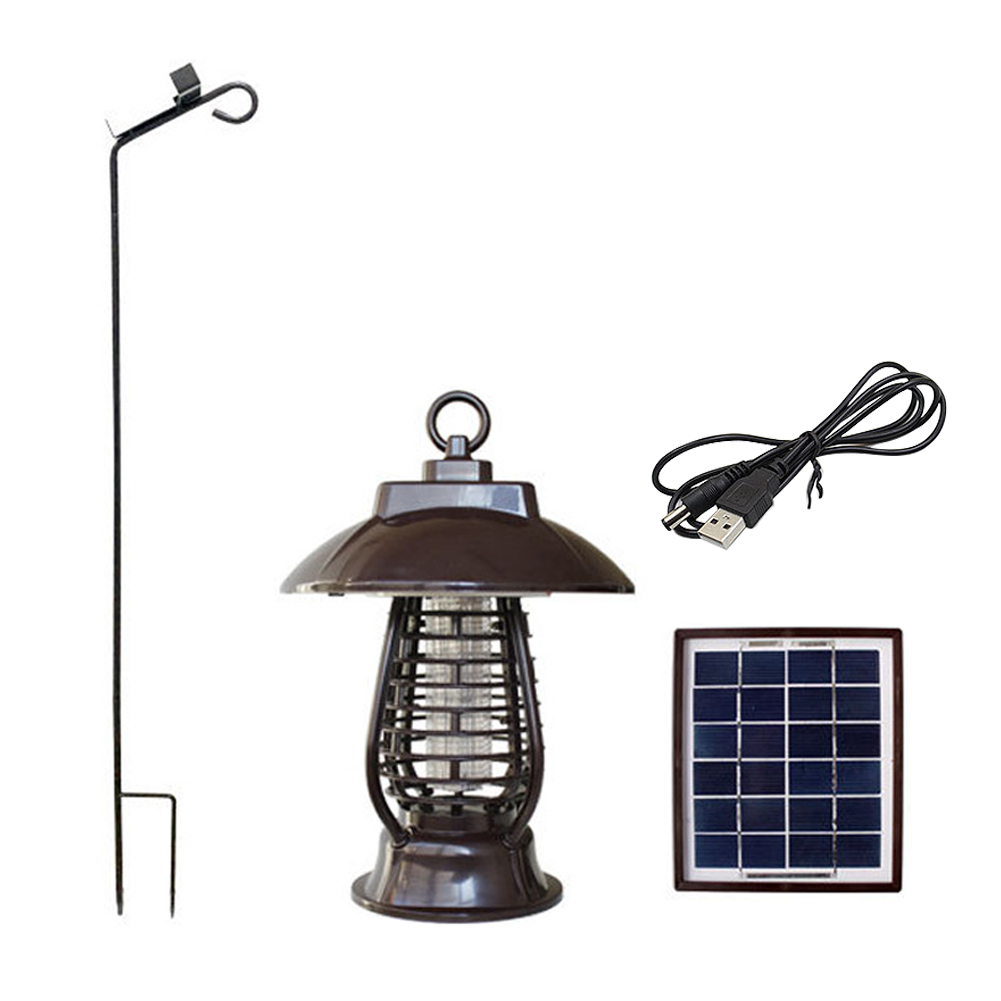 Lampe portative de tueur de moustique à double usage actionnée solaire avec le crochet rétractable LED lumière de Camping USB Rechargeable universelle