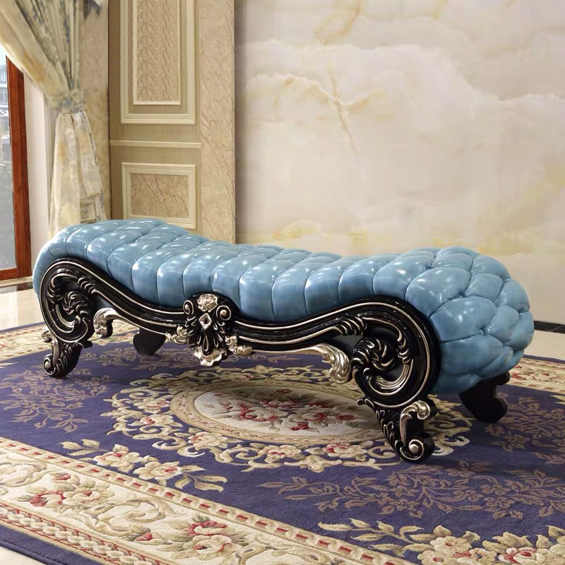 antique modern design European Style sky blue solid wood carving leather Bed End Stool Bench