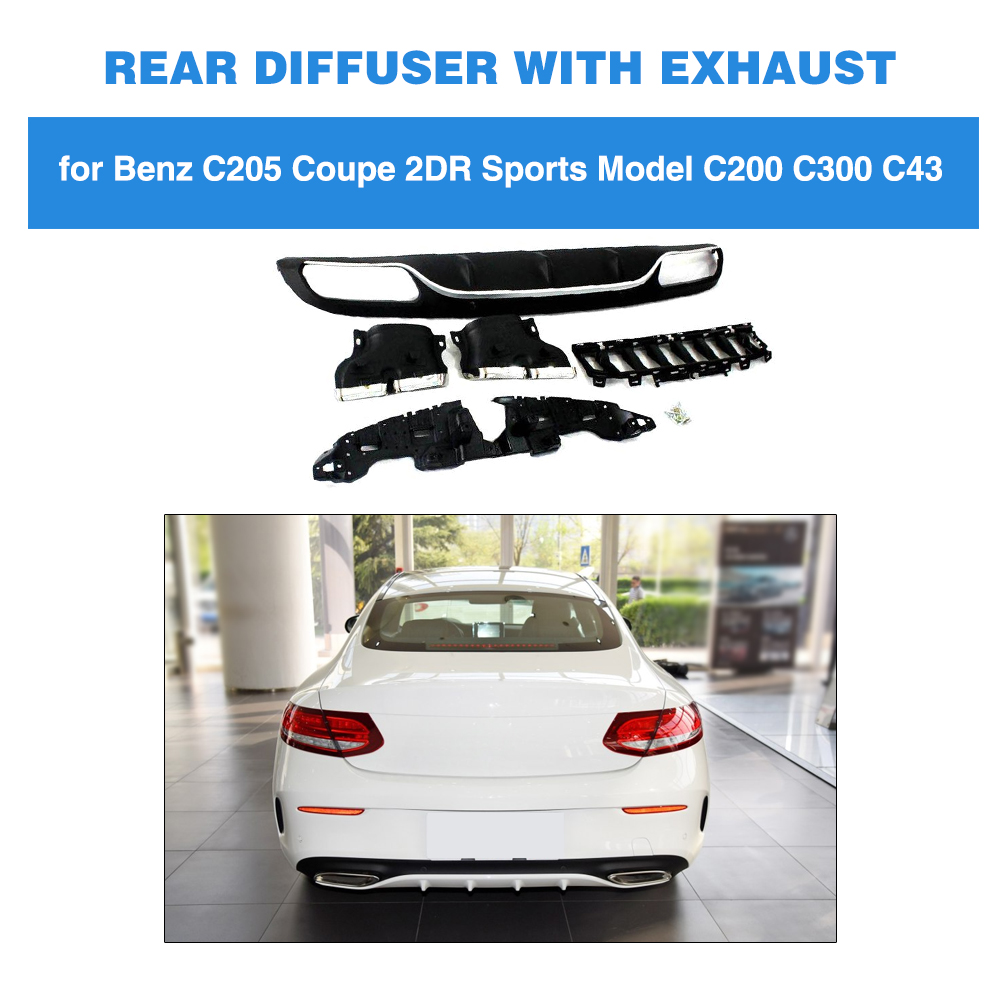 PP Rear Bumper Diffuser Lip Spoiler With Exhaust Tips 4 Outlet for Benz W205 Coupe 2 Door C350 C43 AMG