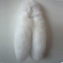 Envío Gratis pura blanca la cola de zorro ártico piel bufanda cuello bufanda moda hombres y mujeres 90-100 cm