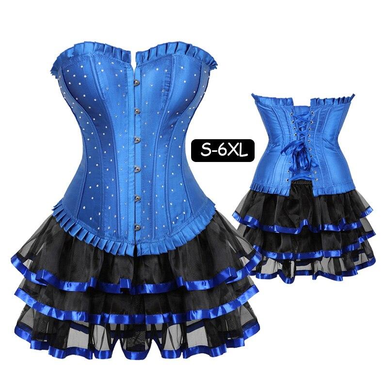 Women's Lace Up Satin Rhinestone Overbust Corset Bustier Dress Waist Training Corsets skirts set Sexy Clubwear Plus Size 5XL 6XL