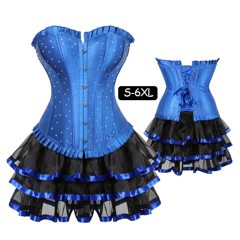 Women's Lace Up Satin Rhinestone Overbust   Corset     Bustier   Dress Waist Training   Corsets   skirts set Sexy Clubwear Plus Size 5XL 6XL