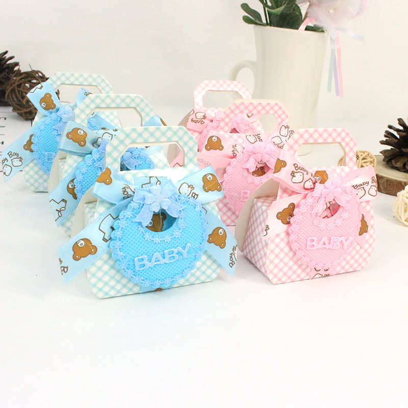 AVEBIEN 24pcs Cute Baby Apron Candy Box Baby Shower Favors Gifts Chocolate Box Birthday Themed Party Decorations Kids  Gift Box