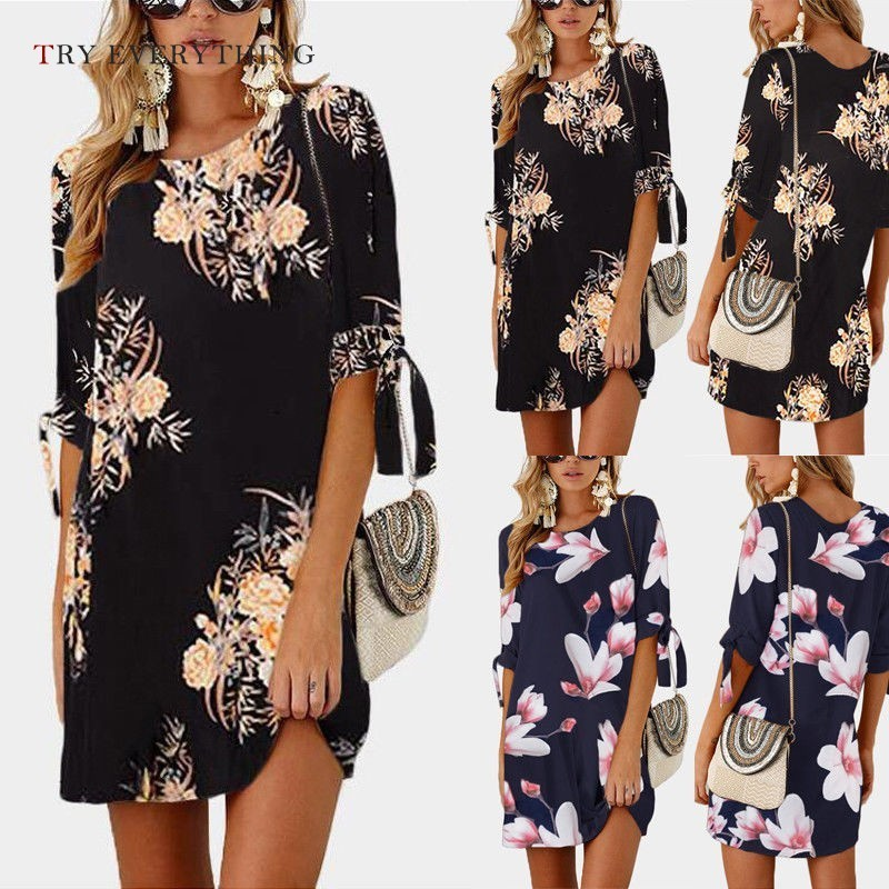Print Floral Beach Dress Women Summer 2019 Plus Size Loose Casual Dresses Ladies Pink Casual Cotton Dress For Women 3XL 4XL 5XL in Dresses from Women 39 s Clothing