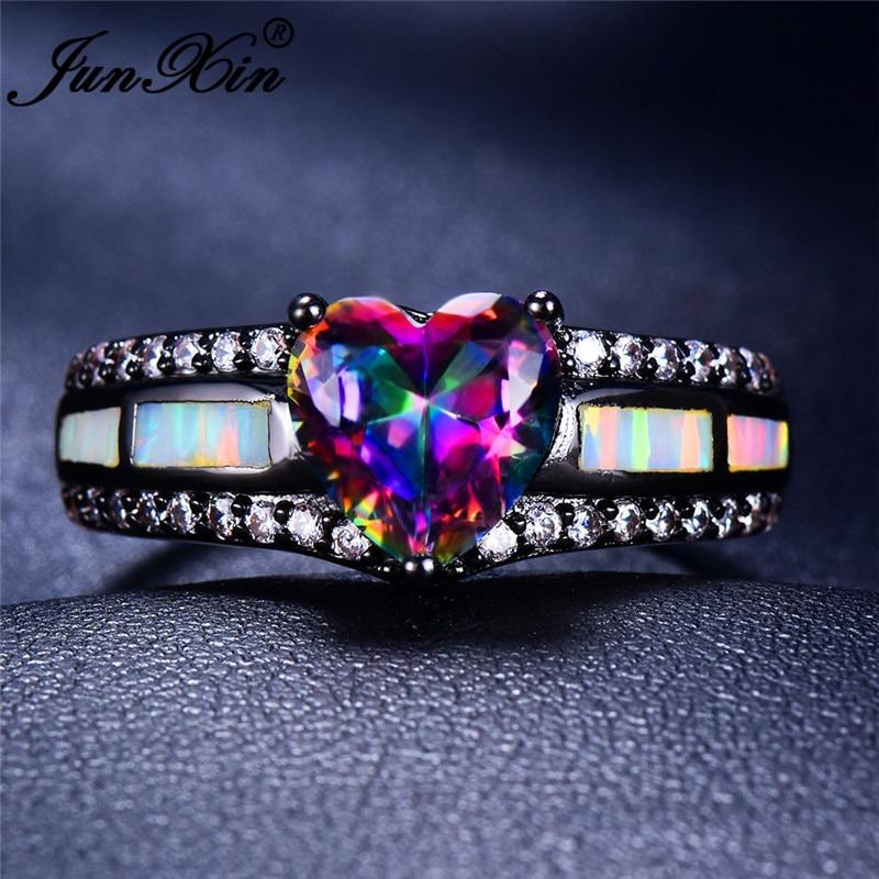 JUNXIN Multicolor Zircon Heart Rings For Women Men Black Gold Rainbow Stone Purple Yellow Green White Blue Fire Opal Ring Female