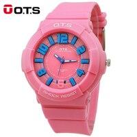 OTS Fashion Casual Children Watches 50M Waterproof Sports Quartz Wrist Watches Jelly Kids Clock Boys Hours Girls Students Watch