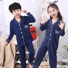 Moda algodão crianças pijamas terno 2019 primavera meninas pijamas dos desenhos animados calças de manga completa terno meninos cardigan crianças loungewear conjunto