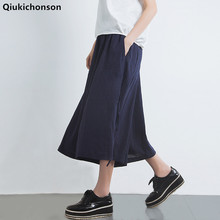 Qiukichonson Cotton Linen Pants Women 2018 Spring Summer Literary Vintage Middle Aged Elastic Waist Casual Wide Leg