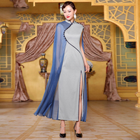 Chinese Vintage Mandarin Collar Qipao Women High Quality Cheongsam Female Evening Party Dress Long Slim Vestidos Size S XXL