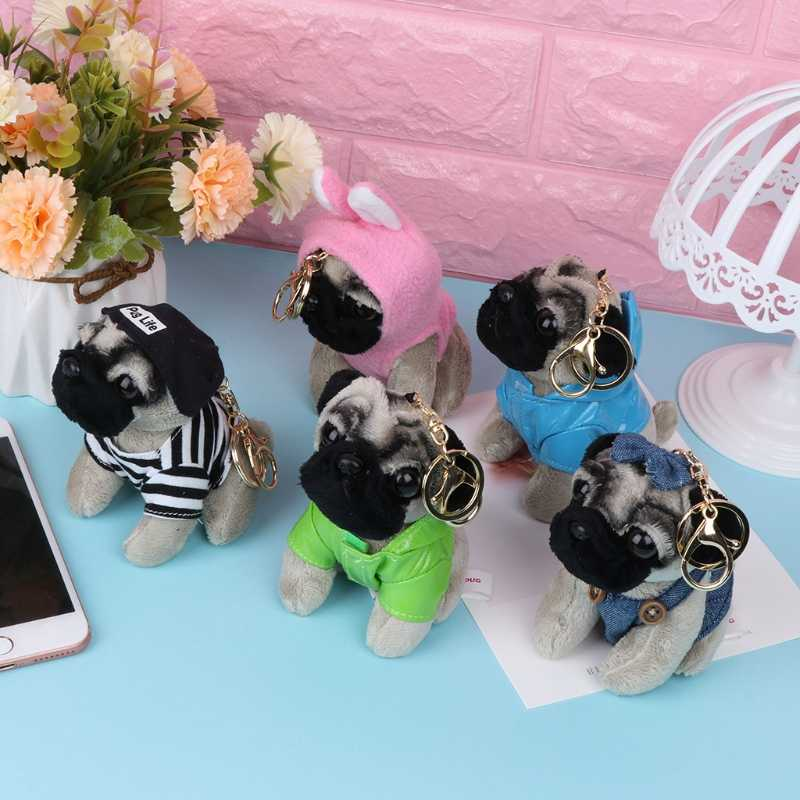 Drôle mignon imperméable Pugger chien poupées chiot chien sac pendentif porte-clés enfant jouet cadeau nouveauté 2018