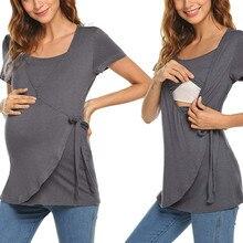 Maternity Clothes Women Pregnant Maternity  Nursing Stripe Breastfeeding Top T-Shirt Blouse Pregnant Clothes Nursing Top S-XXL